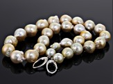 Pre-Owned Cultured South Sea Pearl Rhodium Over Silver Strand Necklace