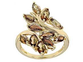 Pre-Owned Brown andalusite 18k gold over silver ring 2.20ctw