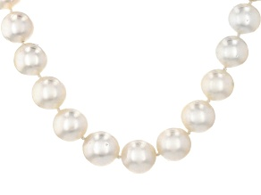 Pre-Owned Cultured South Sea Pearl Rhodium Over Silver Necklace 12-15mm