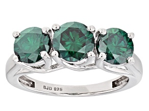 Pre-Owned Green Moissanite Platineve Ring 2.60ctw D.E.W