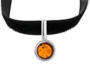 Pre-Owned Orange Amber Sterling Silver Velvet Choker