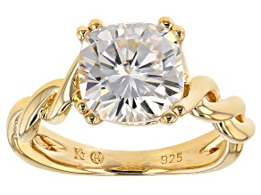 Pre-Owned Moissanite Ring 14k Yellow Gold Over Silver 2.40ct DEW