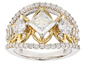 Pre-Owned Moissanite Fire® 2.74ctw DEW Platineve™ And 14k Yellow Gold Over Platineve Two Tone Ring