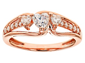 Pre-Owned Moissanite 14k Rose Gold Over Silver Ring .68ctw DEW