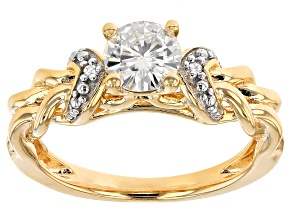 Pre-Owned Moissanite 14k Yellow Gold Over Silver Ring .82ctw D.E.W
