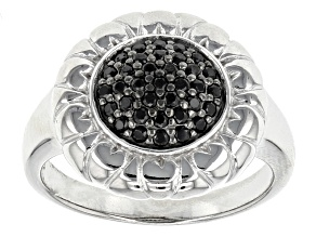 Pre-Owned Black Spinel Sterling Silver Ring .26ctw