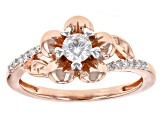 Pre-Owned Moissanite Fire® .35ctw DEW Round 14k Rose Gold Over Silver Ring