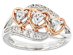 Pre-Owned Moissanite Fire® .37ctw DEW Platineve™ And 14k Rose Gold Over Platineve  Two Tone Ring