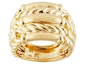 Pre-Owned 18k Yellow Gold Over Bronze Twisted Ribbed Band Ring