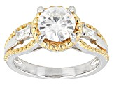 Pre-Owned Moissanite Ring Platineve Two Tone 1.68ctw DEW.