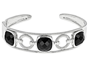 Pre-Owned Black Spinel Sterling Silver Cuff Bracelet 26.50ctw