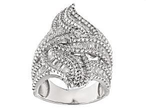 Pre-Owned Cubic Zirconia Rhodium Over Sterling Silver Ring 5.48ctw