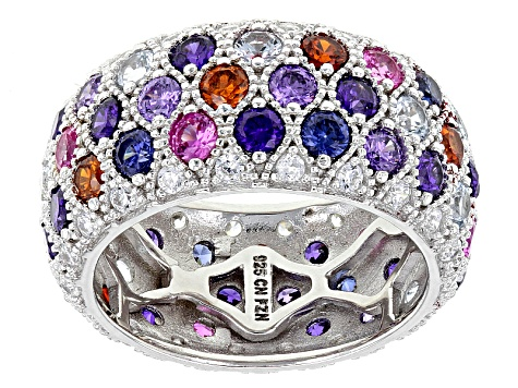 Pre-Owned Blue, Purple, Red And White Cubic Zirconia Rhodium Over Sterling Silver Ring 9.50ctw