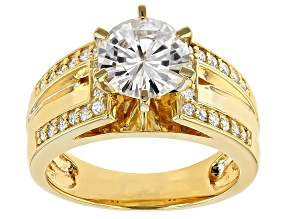 Pre-Owned Moissanite 14k Yellow Gold Over Silver Ring 2.20ctw DEW