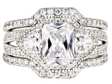 Pre-Owned White Cubic Zirconia Rhodium Over Sterling Silver Ring With Bands 4.39CTW