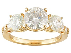 Pre-Owned Moissanite ring 14k yellow gold over silver 2.32ctw DEW