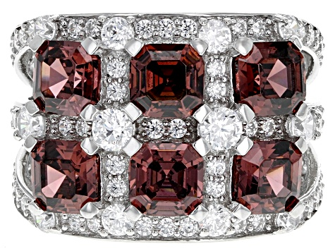 Pre-Owned Blush Zircon Simulant And White Cubic Zirconia Rhodium Over Sterling Silver Ring 7.74CTW