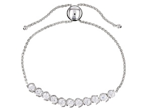 Pre-Owned White Cubic Zirconia Rhodium Over Sterling Silver Adjustable Bracelet 4.05ctw