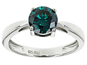 Pre-Owned Green Moissanite Platineve Ring 1.20ct D.E.W