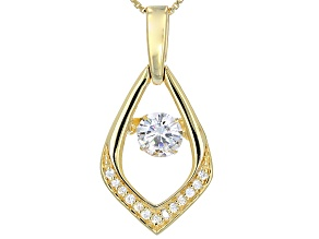 Pre-Owned Moissanite 14k Yellow Gold Over Silver Pendant .93ctw DEW