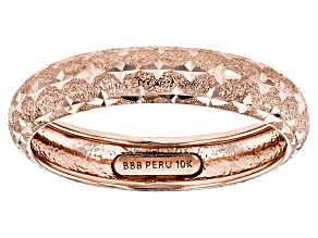 Pre-Owned 10k Rose Gold Diamond Cut Band Ring