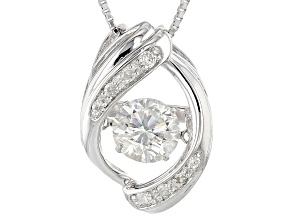 Pre-Owned Moissanite Platineve Pendant And Chain 1.10ctw D.E.W