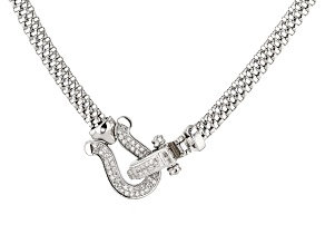 Pre-Owned White Cubic Zirconia Rhodium Over Sterling Silver Mesh Necklace 0.64ctw