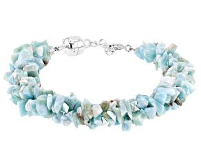 Pre-Owned Free-Form Blue Larimar Bracelet Sterling Silver