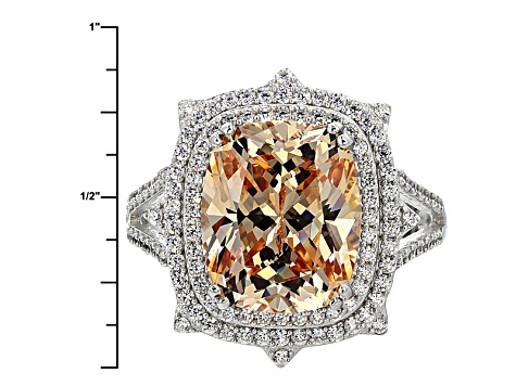 Pre-Owned Champagne And White Cubic Zirconia Rhodium Over Sterling Silver Ring 10.54ctw