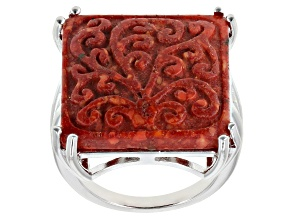 Pre-Owned Red Sponge Coral Rhodium Over Sterling Silver Ring
