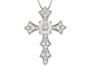 Pre-Owned Moissanite Platineve Cross Pendant With Chain 1.30ctw D.E.W