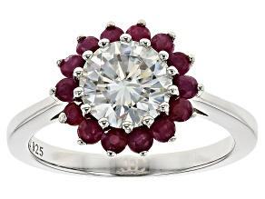 Pre-Owned Moissanite Fire® 1.50ct DEW Round And .70ctw Round Ruby Platineve™ Ring