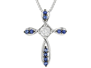 Pre-Owned Moissanite And Blue Sapphire Platineve Pendant  .16ctw DEW