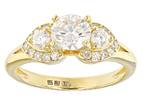 Pre-Owned Moissanite 14k Yellow Gold Over Silver Ring 1.18ctw D.E.W