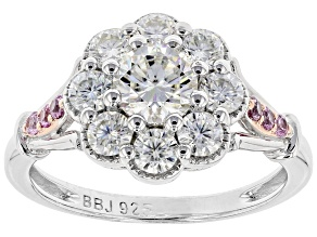 Pre-Owned Moissanite Fire® 1.40ctw DEW And .11ctw Pink Sapphire Platineve™ Two Tone Ring
