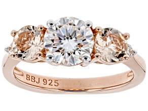 Pre-Owned Moissanite And Morganite 14k Rose Gold Over Silver Ring 1.26ctw DEW.