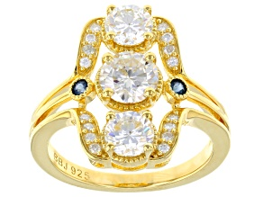 Pre-Owned Moissanite Fire® 1.96ctw DEW And .10ctw  Blue Sapphire 14k Yellow Gold Over Silver Ring