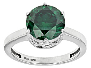 Pre-Owned Green Moissanite Platineve™ Ring 3.10ctw DEW