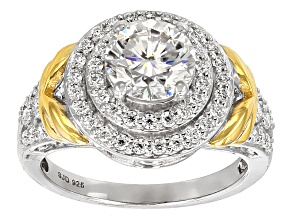 Pre-Owned Moissanite Fire® 2.13ctw DEW Round Platineve™ And 14k Yellow Gold Over Platineve Ring