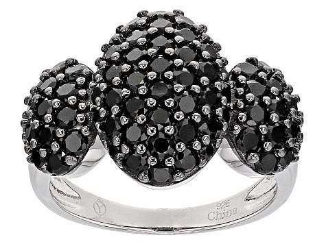 Pre-Owned Black Spinel Sterling Silver Ring 2.80ctw