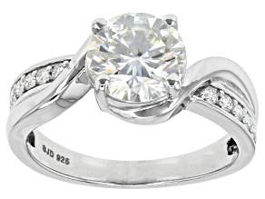 Pre-Owned Moissanite Fire® 2.10ctw Diamond Equivalent Weight Round Platineve™ Ring