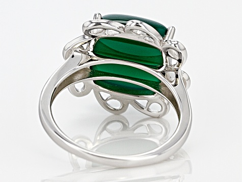 Pre-Owned Green Onyx Sterling Silver Ring