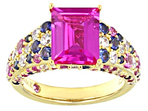 Pre-Owned Lab Created Pink And Blue Sapphire And Cubic Zirconia Eterno Ring 6.24ctw