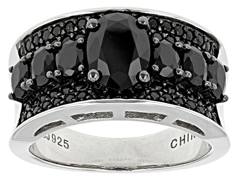 Pre-Owned Black Spinel Sterling Silver Ring 2.52ctw