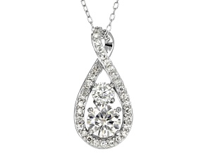 Pre-Owned Moissanite Fire® 1.34ctw DEW Round Platineve™ Pendant And Chain