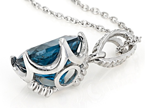 Pre-Owned London Blue Topaz rhodium over sterling silver solitaire pendant with chain 5.50ct