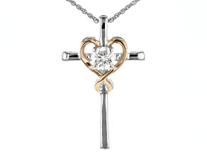 Pre-Owned Moissanite Fire® .50ctw DEW Platineve™ And 14k Rose Gold Over Platineve Pendant & Chain