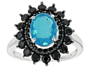 Pre-Owned Blue Ethiopian Opal Rhodium Over Silver Ring 2.00ctw