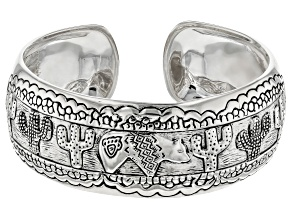 Pre-Owned Sterling Silver Cacti And Bear Cuff Bracelet