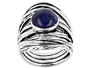 Pre-Owned Blue lapis lazuli rhodium over silver solitaire ring